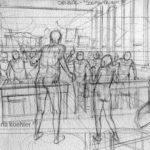 Croquis de perspectiva para o primeiro quadro da página 2 do preview.