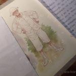 Estudo de aquarela para o personagem de Teo, ainda menino.
