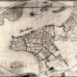 Mapa de Porto Alegre no séc. XIX, com o Beco do Rosário e a Igreja do Rosário marcados em vermelho.