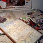 Aquarelando desenhos e páginas.
