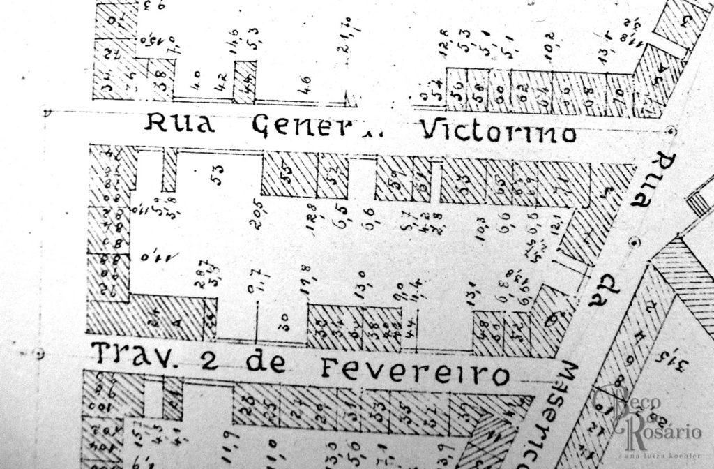 Planta de 1893 mostrando a antiga Travessa 2 de Fevereiro, antigo beco da Cadeia. Mapoteca do AHMMV.