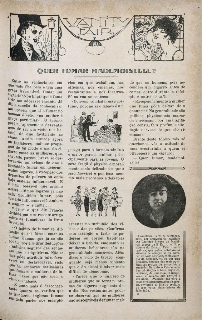 """Revista """"A Máscara"""", Ed00001, 02/10/1920, p. 19. """"Quer fumar, mademoiselle?"""""""