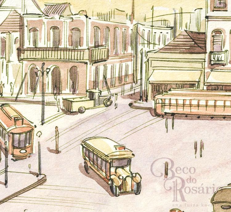 """Detalhe de um quadro da HQ """"Beco do Rosário"""" mostrando a antiga Casa Carvalho em demolição."""