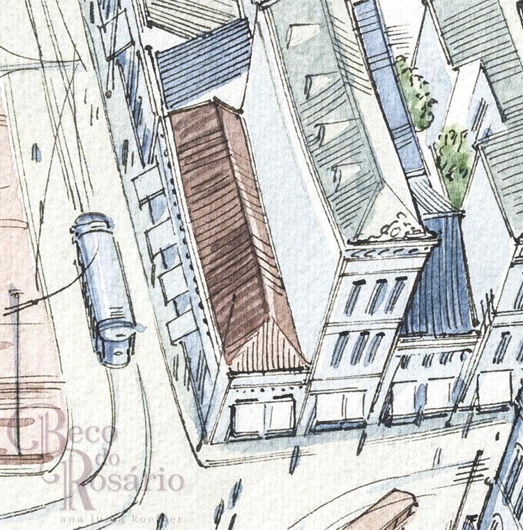 """Outro desenho da Casa Carvalho na HQ """"Beco do Rosário"""". Desenho da pesquisadora, 2019."""