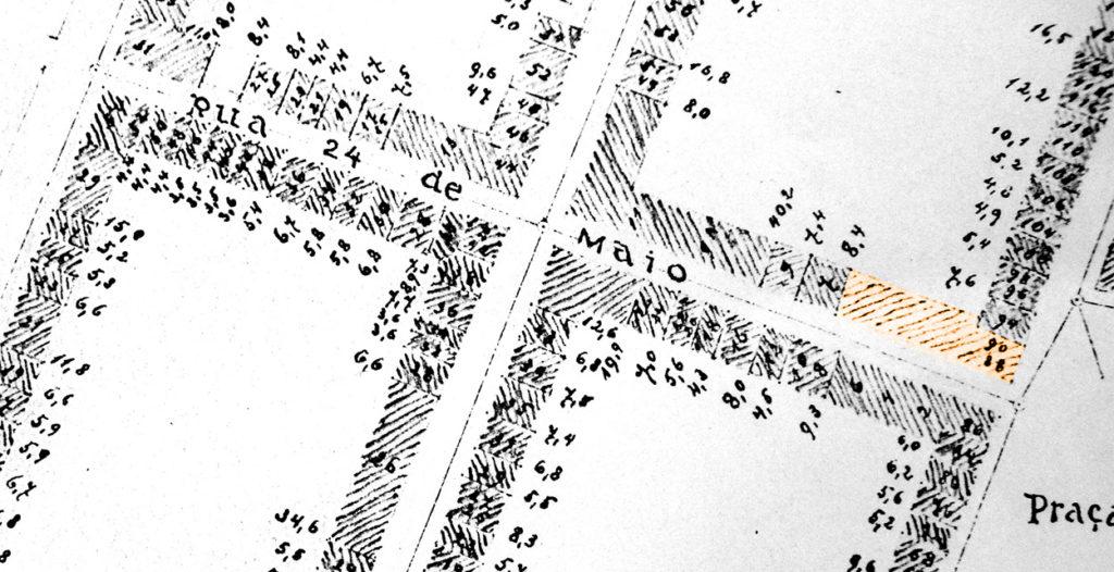 O prédio identificado na Planta Cadastral de Porto Alegre de 1893.