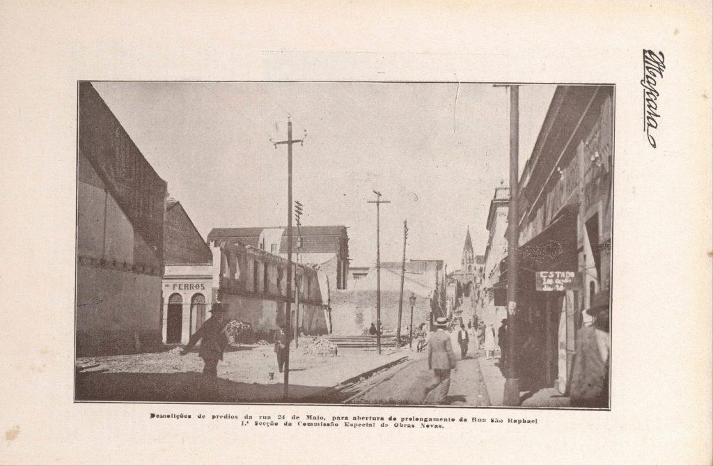 Demolição do Beco do Rosário. Revista A Máscara, Ed00001, 1927, p. 80. BN Digital.