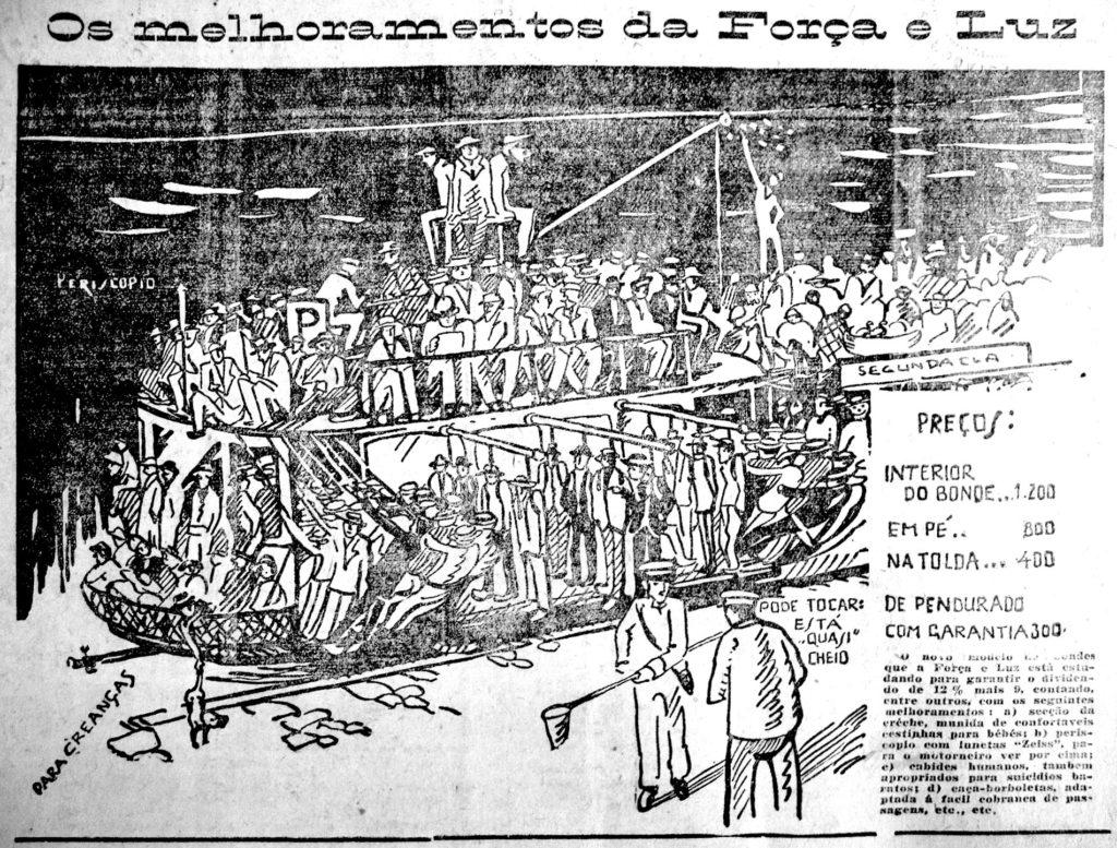 """""""Os melhoramentos da Força e Luz"""". Correio do Povo, 06/05/1926. Hemeroteca do MCSHJC. Provável desenho de Fancis Pelichek."""