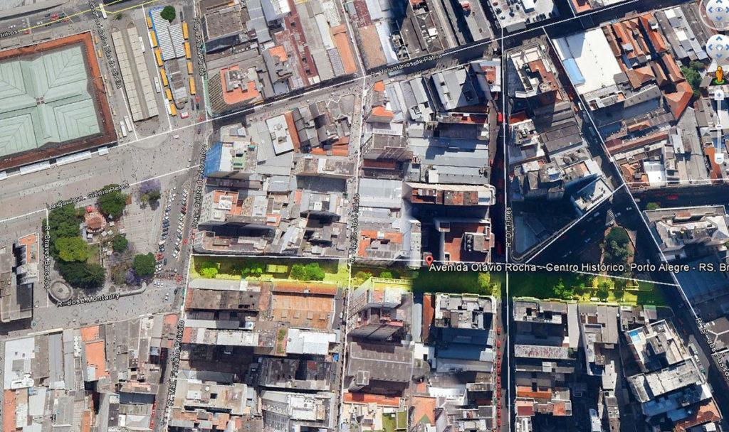 Foto aérea da Avenida Otávio Rocha, antigo Beco do Rosário (em destaque). Google Earth, 14/04/2014.