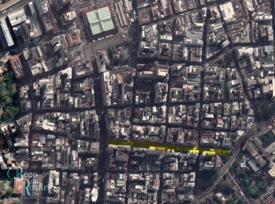 A atual avenida Salgado Filho (em destaque), aberta no lugar da antiga rua da Cadeia. Google Maps, 2020.