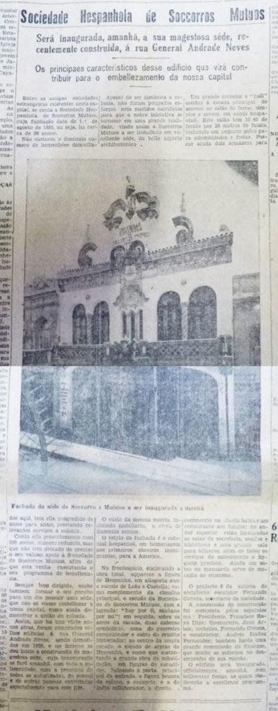 Sociedade Hespanhola de Soccorros Mutuos. Correio do Povo, 01/03/1929. AHMMV.