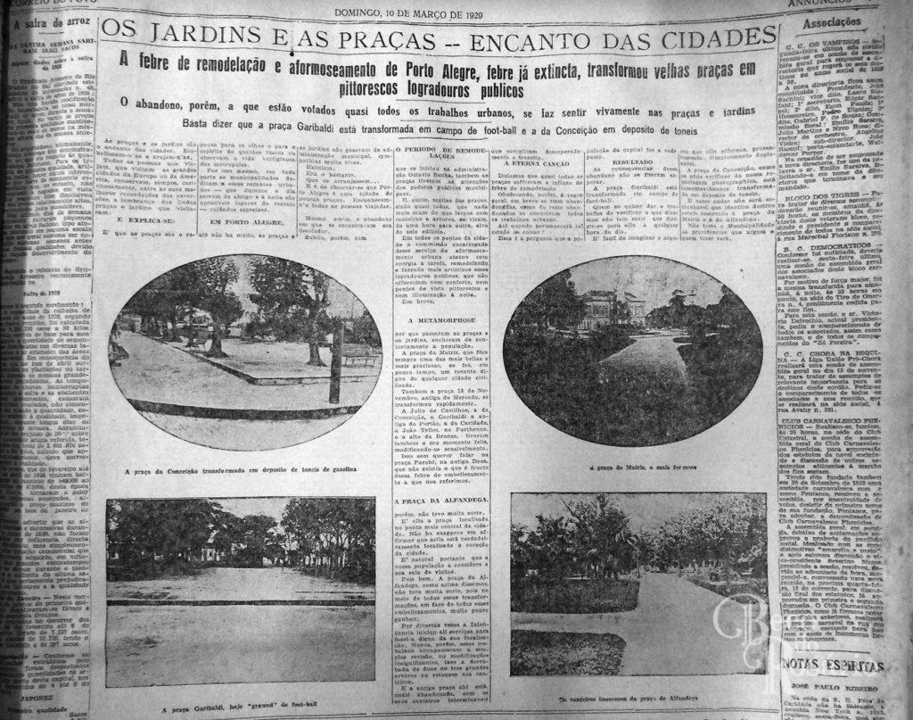 Os jardins e as praças... Correio do Povo, 10/03/1929, AHMMV.