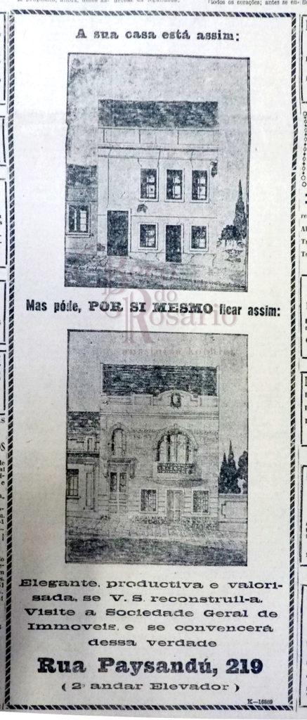 """Anúncio """"A sua casa está assim"""" Correio do Povo, 12/03/1929, p. 1. Hemeroteca do Arquivo Histórico Moysés Vellinho de Porto Alegre."""