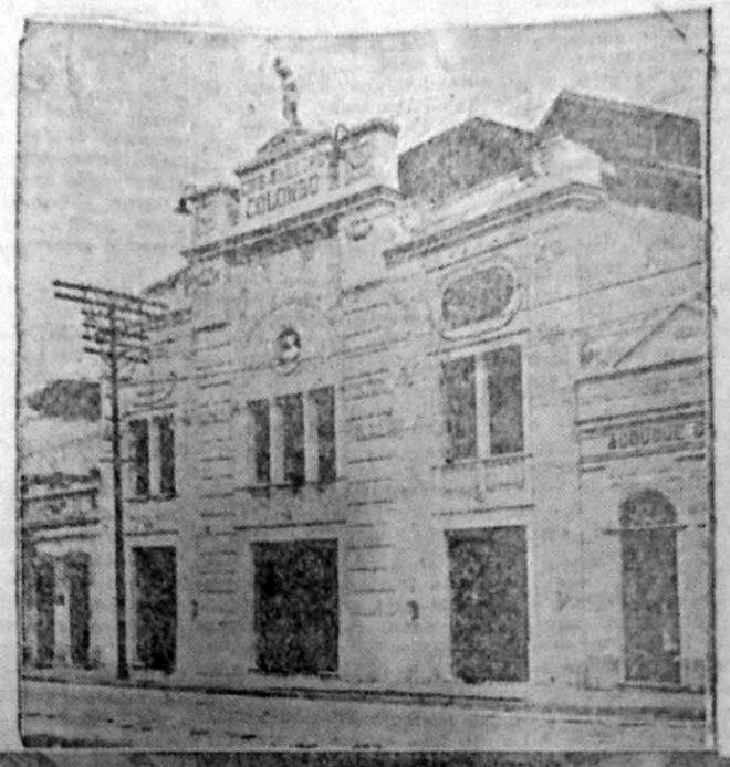 Fachada do Cine-Theatro Colombo. Correio do Povo, 06/03/1929, AHMMV.