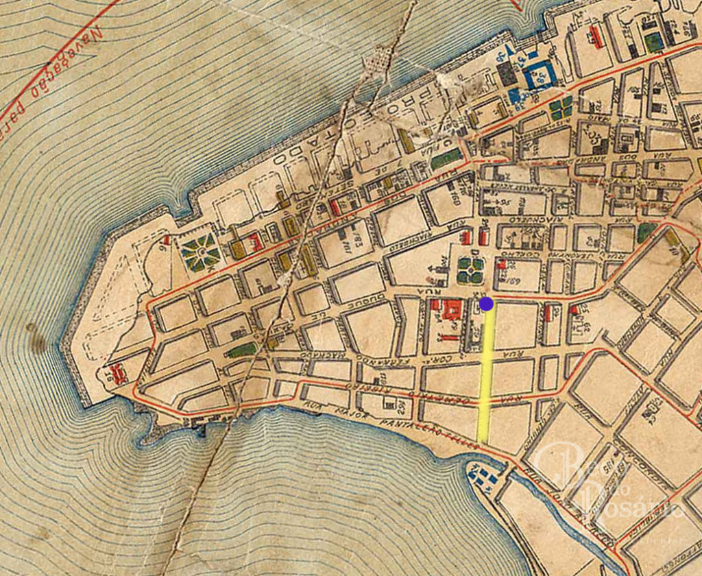 Edição sobre a Planta de Porto Alegre em 1906. Capela do Império (em azul) e Beco do Império (em amarelo). Mapoteca do IHGRGS.