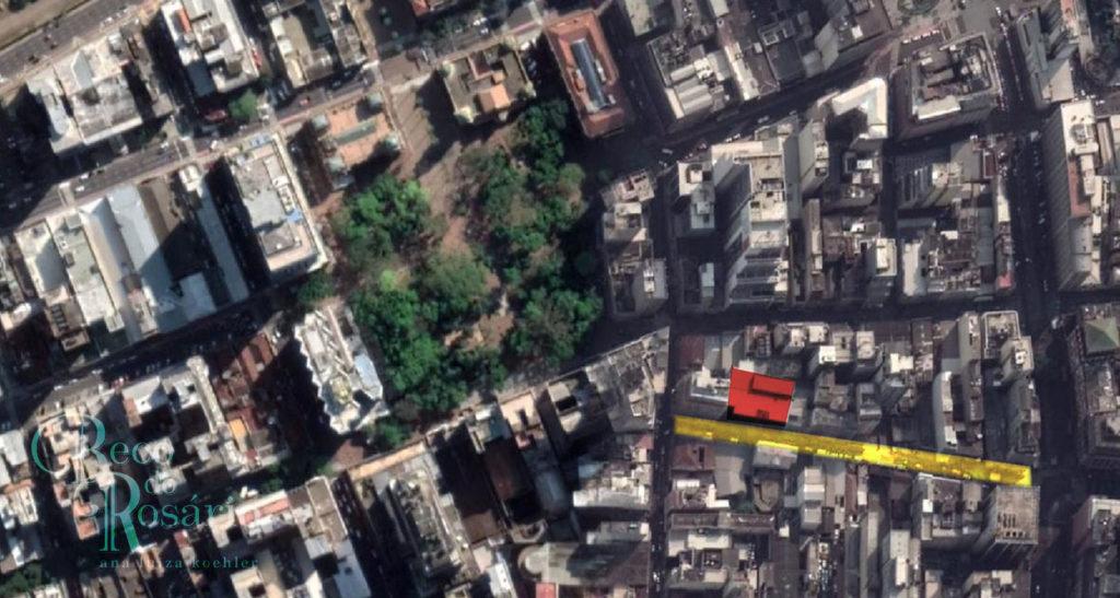Localização do Club dos Caçadores em foto de satélite atual (Google Maps).