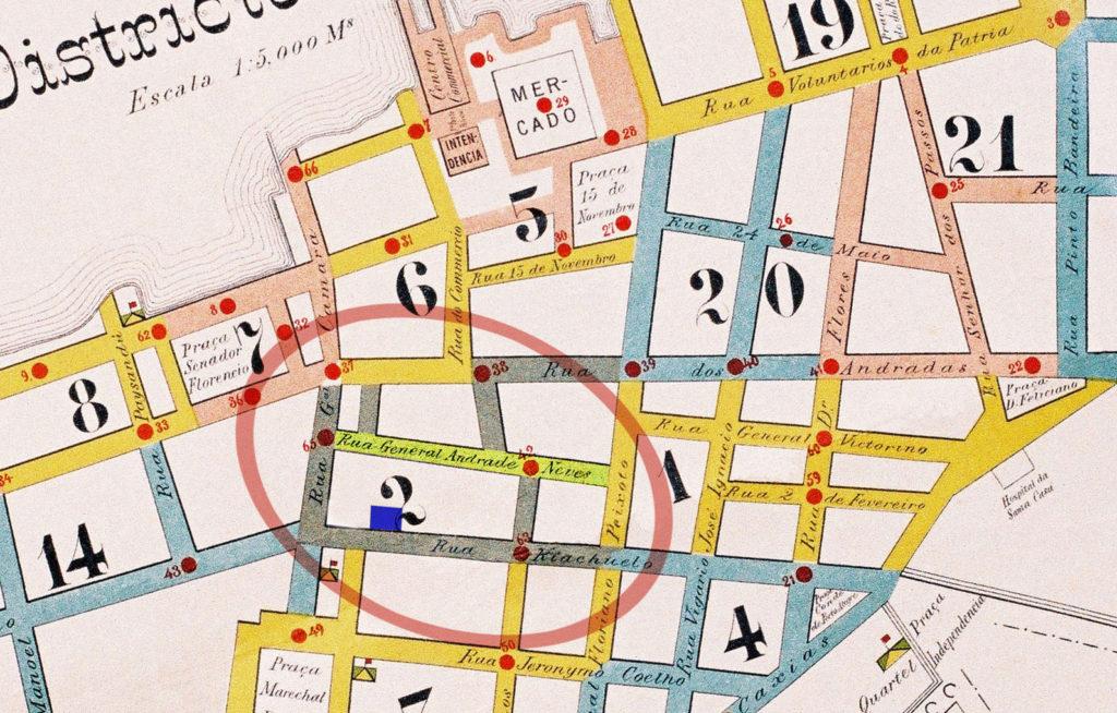 Localização do Club dos Caçadores na Planta do 1º Distrito de Porto Alegre. Mapoteca do IHGRGS. Edição da pesquisadora.