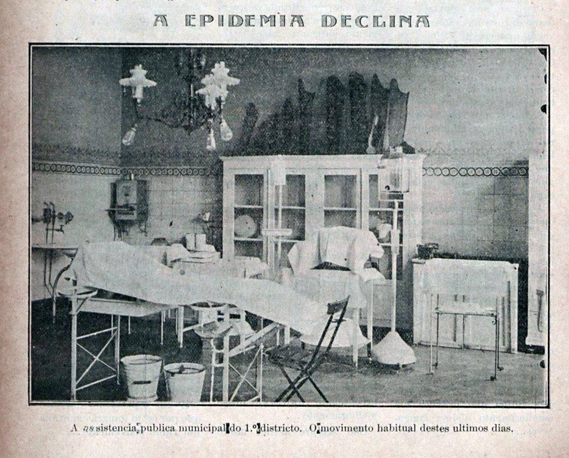 """""""A pandemia declina"""". """"A Máscara"""", 1918, Ed. 43-2, p. 10. Hemeroteca Digital da Biblioteca Nacional."""