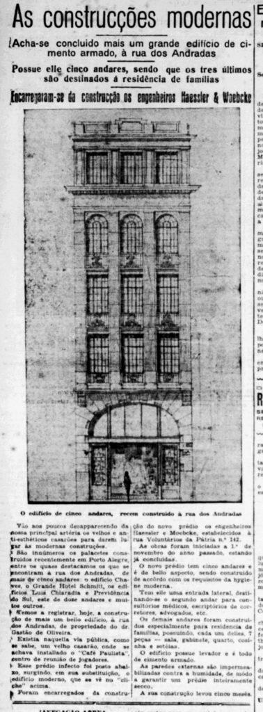 """""""As construcções modernas"""". Estado do Rio Grande, 30/05/1930, p. 6. Hemeroteca digital da Biblioteca Nacional."""