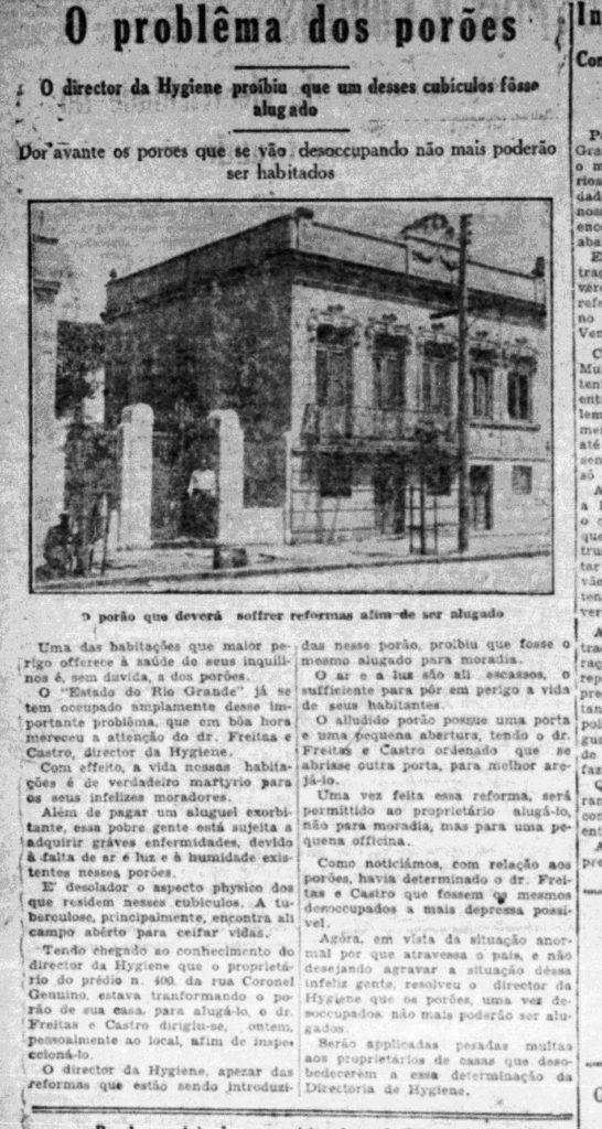 """""""O problema dos porões"""". Estado do Rio Grande do Sul, 03/12/1930, p. 6. Hemeroteca digital da Biblioteca Nacional."""