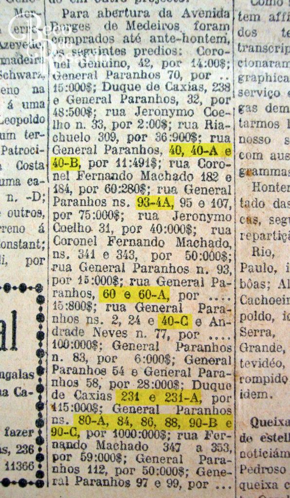 """Correio do Povo, 12-06-1926. """"A abertura da avenida Borges de Medeiros"""". Hemeroteca do MCSHJC."""