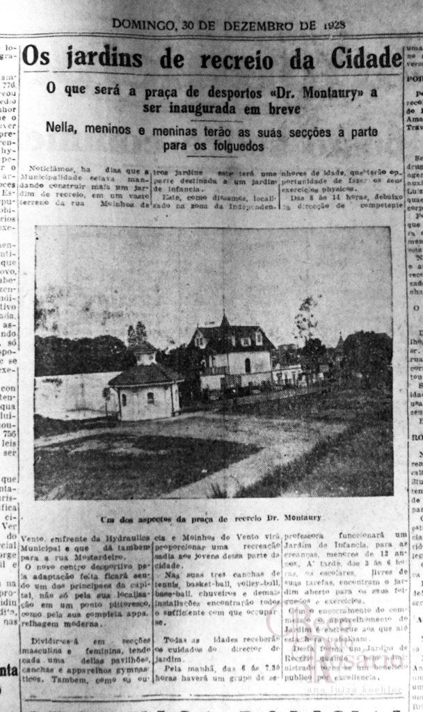 Praça José Montaury. Correio do Povo, 30/12/1928. Hemeroteca do AHMMV.