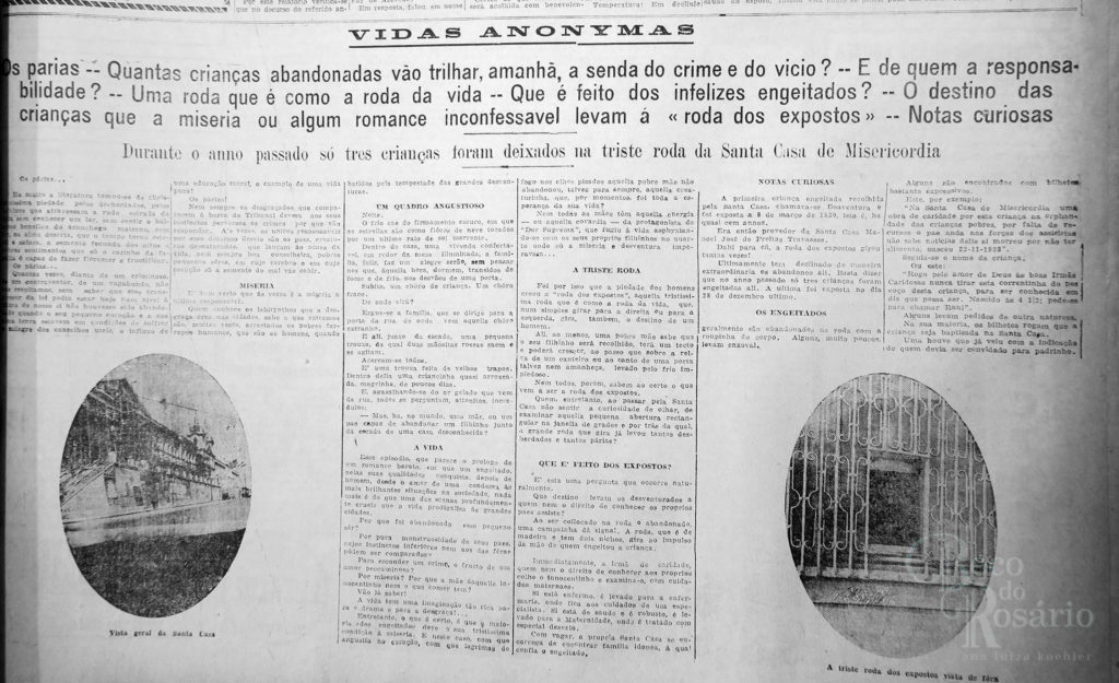 """Vidas anonymas"". Correio do Povo, 23/4/1929, p. 5. Hemeroteca do AHMMV."