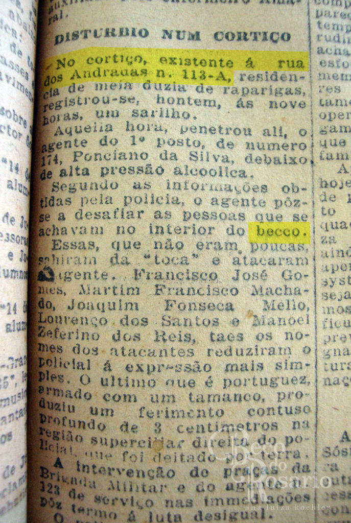 """""""Distúrbio num cortiço"""". Correio do Povo, jan-ago de 1927. Museu de Comunicação Social Hipólito José da Costa."""