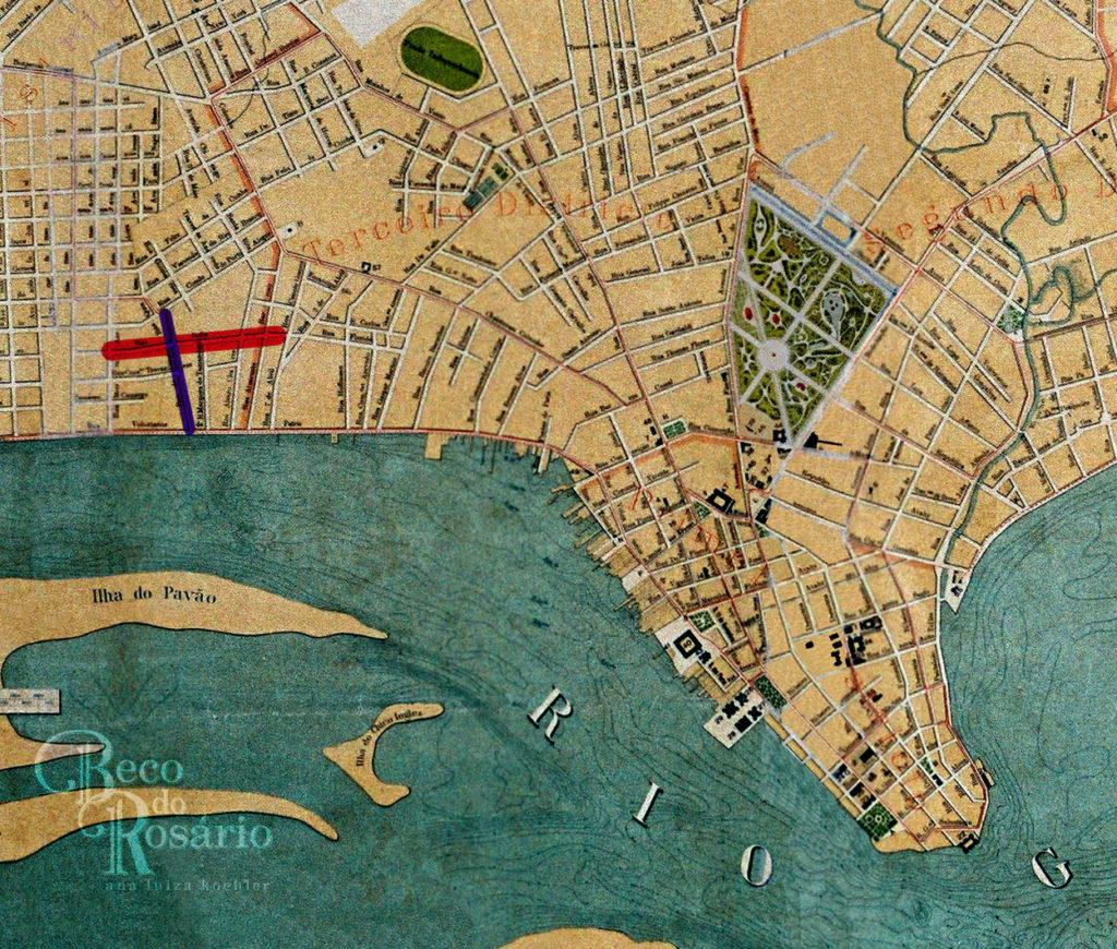 Detalhe da planta da cidade de Porto Alegre de 1916. Mapoteca do IHGRGS. Na marcação, as ruas do Parque e rua Italia.