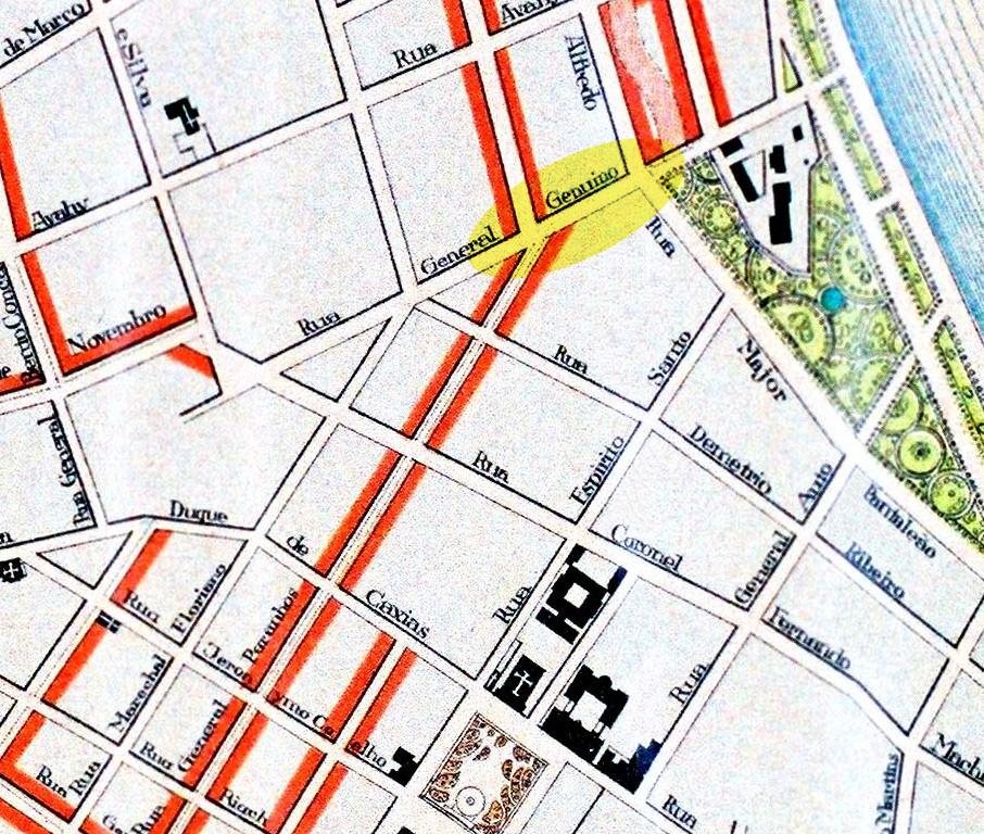 Detalhe do Plano Geral de Melhoramentos de 1914 mostrando o a área que aparece na fotografia acima. Acervo do IHGRGS.