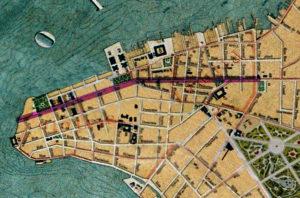 Detalhe da Planta de Porto Alegre de 1916 (IHGRGS) mostrando a rua da Praia em destaque.