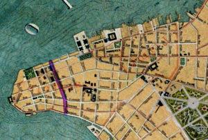 Detalhe da Planta de Porto Alegre de 1916 (IHGRGS) mostrando a rua General Bento Martins em destaque.