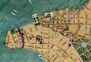 Detalhe da Planta de Porto Alegre de 1916 (IHGRGS) mostrando a rua General Canabarro em destaque.