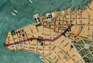Detalhe da Planta de Porto Alegre de 1916 (IHGRGS) mostrando a rua Duque de Caxias em destaque.