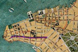 Detalhe da Planta de Porto Alegre de 1916 (IHGRGS) mostrando a rua Fernando Machado em destaque.