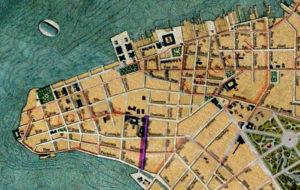 Planta de Porto Alegre de 1916. Mapoteca do IHGRGS. Em destaque, a localização da Rua Espírito Santo.