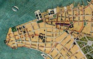 Planta de Porto Alegre de 1916. Mapoteca do IHGRGS. Em destaque, a localização da Rua General Vitorino.