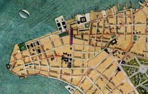 Planta de Porto Alegre de 1916. Mapoteca do IHGRGS. Em destaque, a localização da Rua General Câmara.