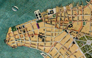 Planta de Porto Alegre de 1916. Mapoteca do IHGRGS. Em destaque, a localização da travessa Paysandú, atual Caldas Júnior.