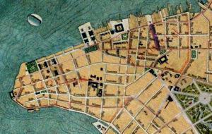 Planta de Porto Alegre de 1916. Mapoteca do IHGRGS. Em destaque, a localização da rua Senhor dos Passos.