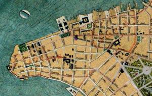 Planta de Porto Alegre de 1916. Mapoteca do IHGRGS. Em destaque, a localização da Travessa Angustura.