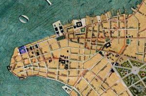 Detalhe da Planta de Porto Alegre de 1916 (IHGRGS) mostrando a Praça da Harmonia em destaque.