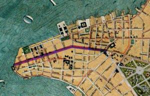 Detalhe da Planta de Porto Alegre de 1916 (IHGRGS) mostrando a rua Riachuelo em destaque.