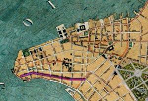Detalhe da Planta de Porto Alegre de 1916 (IHGRGS) mostrando a rua Demétrio Ribeiro em destaque.