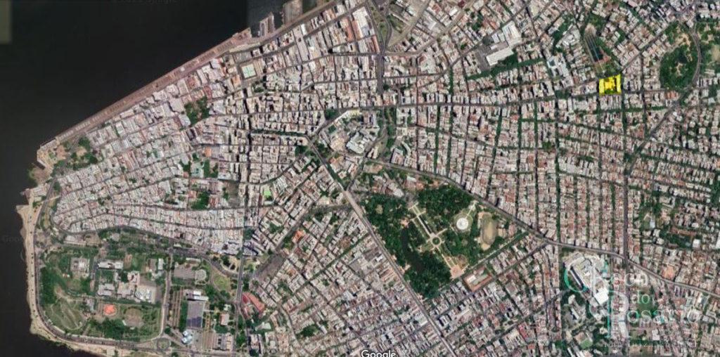 Local da praça José Montaury na fotografia de satélite de Porto Alegre (Google Earth).