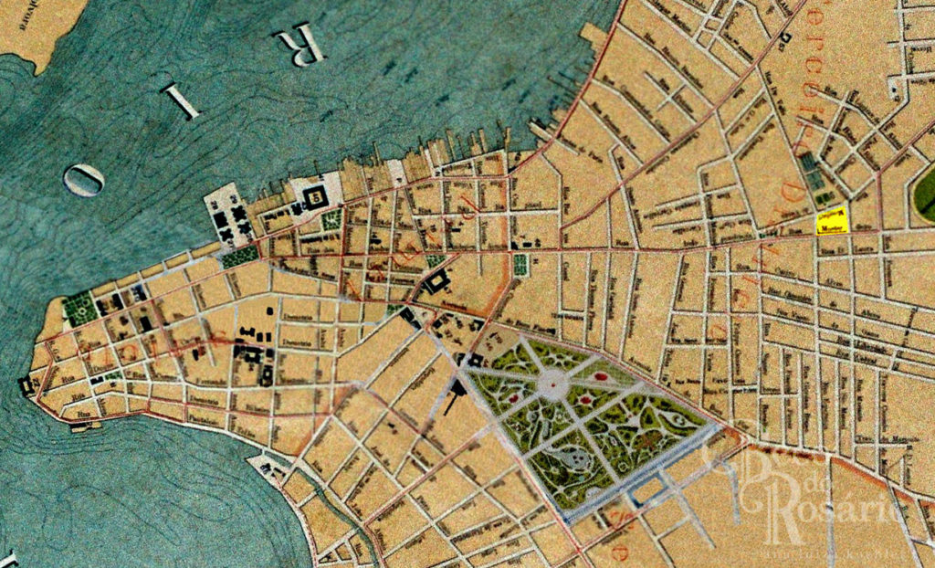 Local da praça José Montaury (em amarelo) no mapa de Porto Alegre em 1916, mapoteca do IHGRGS.
