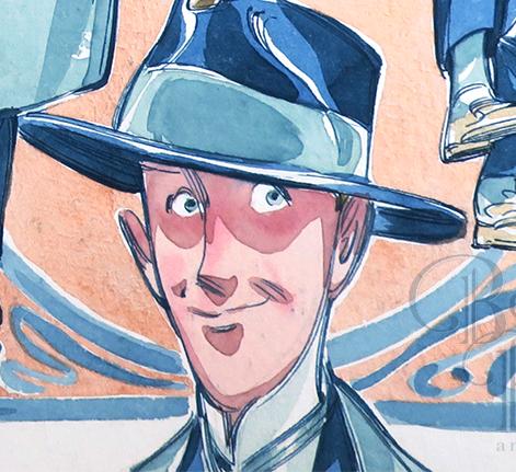 """Detalhe de """"Téo em azuis"""", lápis, bico de pena e aquarela sobre papel Hahnemühle, 2019."""