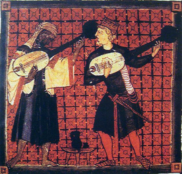 Músicos mouro e cristão, manuscritpo medieval.