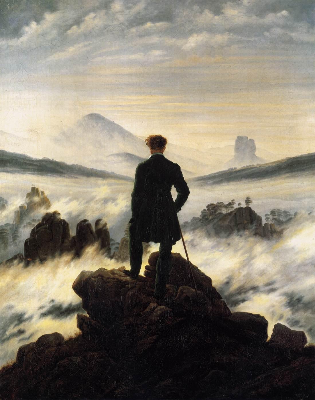 Viajante Acima de um mar de nuvens. Caspar-David Friedrich, 1818