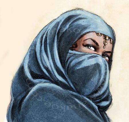 Awrah tome1, niqab watercolor study