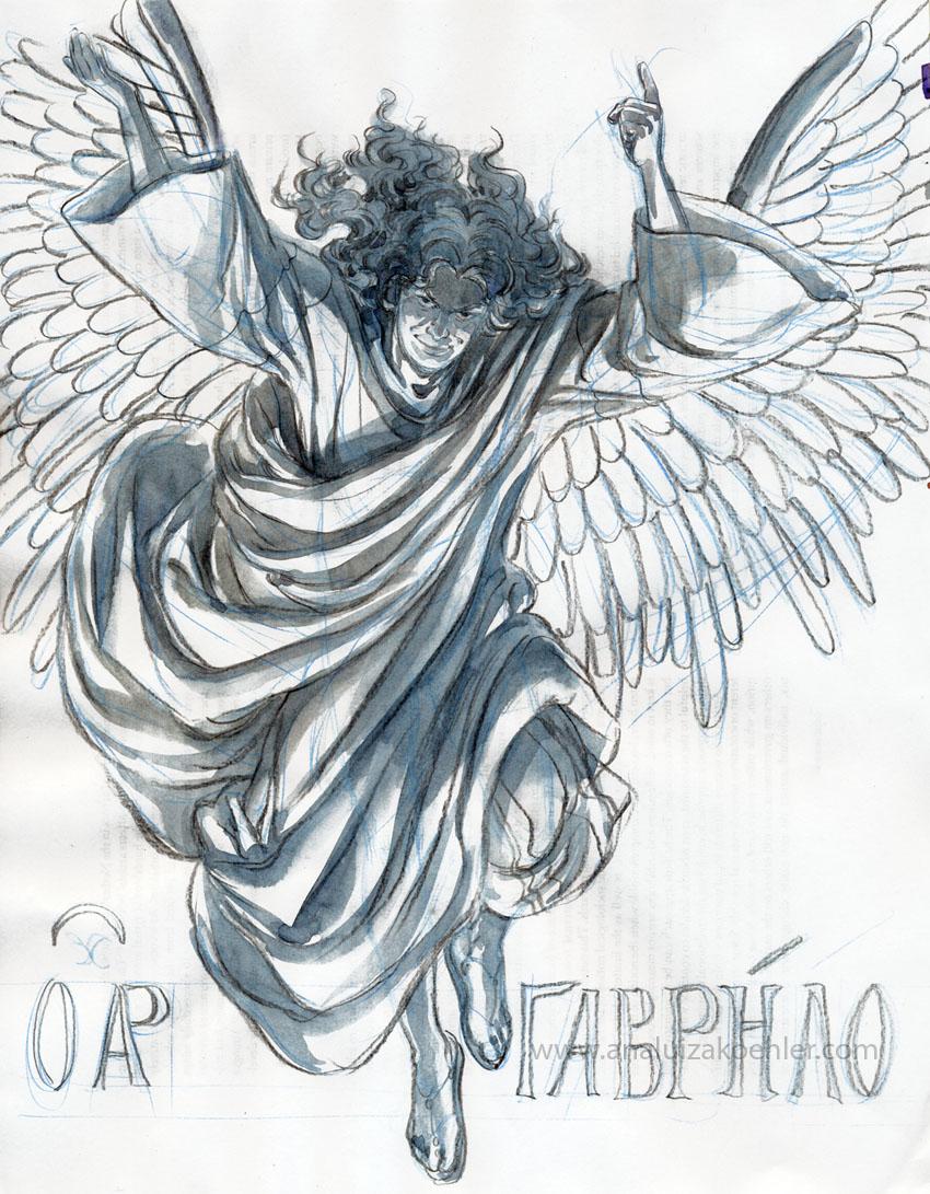Archangel Gabriel, grisaille sketch
